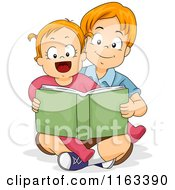 Cartoon Of A Big Brother Reading A Story Book To His Little Sister Royalty Free Vector Clipart
