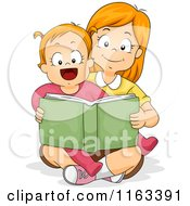 Cartoon Of A Big Sister Reading A Story Book To Her Little Sister Royalty Free Vector Clipart