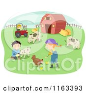 Cartoon Of Happy Children Tending To Chickens Goats And Cows On A Farm Royalty Free Vector Clipart by BNP Design Studio