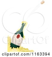 Cartoon Of A Champagne Bottle And Flying Cork Royalty Free Vector Clipart