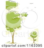 Cartoon Of A Background Of Trees And Birds Royalty Free Vector Clipart