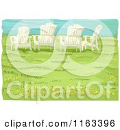 Cartoon Of Adirondack Chairs On A Bluff Over A Beach Royalty Free Vector Clipart
