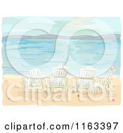 Cartoon Of Adirondack Chairs On A Beach Royalty Free Vector Clipart
