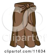 Ladies Long Brown Skirt With A Bow Tie Clipart Picture