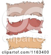 Cartoon Of Vintage Red And Brown Parchment Scroll Banners Royalty Free Vector Clipart