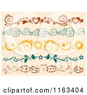 Cartoon Of Heart Swirl Sun And Paisley Borders On Tan Royalty Free Vector Clipart