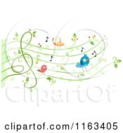 Cartoon Of Singing Birds On A Vine Music Chart Royalty Free Vector Clipart
