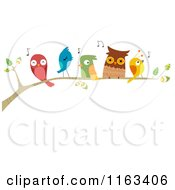 Cartoon Of A Branch With Singing Birds Royalty Free Vector Clipart