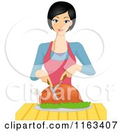 Cartoon Of A Happy Woman Carving A Roasted Chicken Royalty Free Vector Clipart by BNP Design Studio