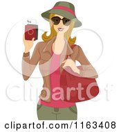 Cartoon Of A Female Tourist Holding Her Passport Royalty Free Vector Clipart