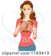 Cartoon Of A Brunette Woman Holding A Soft Pretzel Royalty Free Vector Clipart