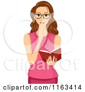 Cartoon Of A Brunette Woman Shushing And Holding A Book Royalty Free Vector Clipart
