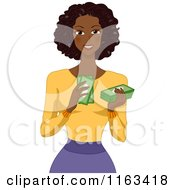 Cartoon Of A Beautiful Black Woman Counting Her Money Royalty Free Vector Clipart