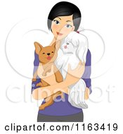 Cartoon Of A Woman Hodling Her Two Dogs Royalty Free Vector Clipart