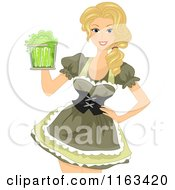 Cartoon Of A Blond Oktoberfest Beer Maiden In A Green Costume Royalty Free Vector Clipart by BNP Design Studio