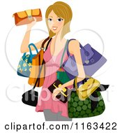 Cartoon Of A Blond Woman With Hand Bags Royalty Free Vector Clipart