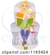 Cartoon Of A Blond Mother And Daughter Reading A Story Book Royalty Free Vector Clipart
