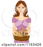 Cartoon Of A Brunette Woman Holding A Basket Of Bread Royalty Free Vector Clipart