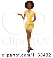 Cartoon Of A Beautiful Black Woman Presenting Royalty Free Vector Clipart