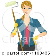Cartoon Of A Happy Blond Woman Holding A Paint Roller Royalty Free Vector Clipart by BNP Design Studio