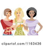 Cartoon Of A Diverse Group Of Ladies Drinking Beer Royalty Free Vector Clipart by BNP Design Studio