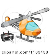 Cartoon Of A Remote Controlled Helicopter Toy Royalty Free Vector Clipart