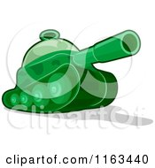 Cartoon Of A Green Toy Military Tank Royalty Free Vector Clipart by BNP Design Studio