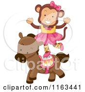 Cartoon Of A Female Circus Monkey Balancing On A Horse Royalty Free Vector Clipart