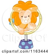 Circus Lion Jumping Through A Hoop