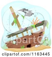 Cartoon Of A Sunken Ship Wreck Underwater Royalty Free Vector Clipart by BNP Design Studio