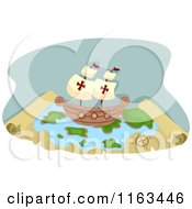 Cartoon Of A Pirate Ship On A Treasure Map Royalty Free Vector Clipart by BNP Design Studio