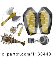 Cartoon Of Medieval Weapons And Torture Devices Royalty Free Vector Clipart by BNP Design Studio