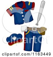 Cartoon Of A Police Baton And Costume Royalty Free Vector Clipart