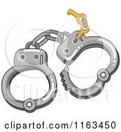 Cartoon Of A Pair Of Handcuffs With Keys Royalty Free Vector Clipart