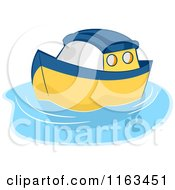 Cartoon Of A Blue And Yellow Toy Boat On Water Royalty Free Vector Clipart