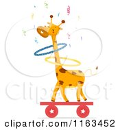 Circus Giraffe Hula Hooping On A Balance Board