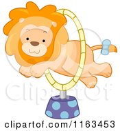 Circus Lion Leaping Through A Hoop
