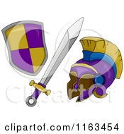 Cartoon Of A Gladiator Sword Shield And Helmet Royalty Free Vector Clipart by BNP Design Studio