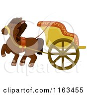 Cartoon Of An Ancient Horse Drawn Chariot Royalty Free Vector Clipart