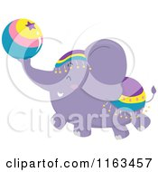 Cartoon Of A Purple Circus Elephant With A Ball Royalty Free Vector Clipart