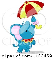 Blue Circus Elephant Standing With An Umbrella