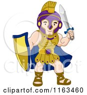 Cartoon Of A Greek Warrior With A Shield And Sword Royalty Free Vector Clipart by BNP Design Studio
