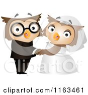 Cartoon Of A Bride And Groom Owl Couple Royalty Free Vector Clipart