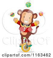 Cartoon Of A Male Circus Monkey Juggling On A Unicycle Royalty Free Vector Clipart by BNP Design Studio
