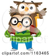 Cartoon Of A Son Owl On His Fathers Back Royalty Free Vector Clipart