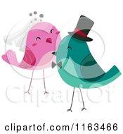 Cartoon Of Bride And Groom Wedding Birds Royalty Free Vector Clipart
