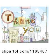Cartoon Of A Thank You Urban City Royalty Free Vector Clipart