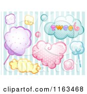 Cartoon Of Candy And Sweet Cloud Design Elements Over Stripes Royalty Free Vector Clipart by BNP Design Studio
