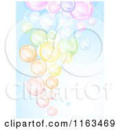 Cartoon Of A Background Of Colorful Bubbles Over Blue Royalty Free Vector Clipart by BNP Design Studio