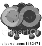Cartoon Of A Cute Black Sheep Lamb Royalty Free Vector Clipart